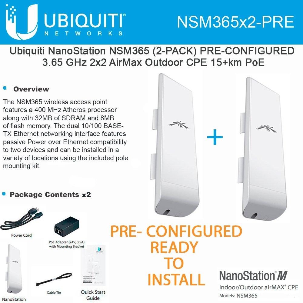Ubiquiti NSM365 (2-PACK) PRE-CONFIGURED NanoStation 3.65GHz AirMax CPE