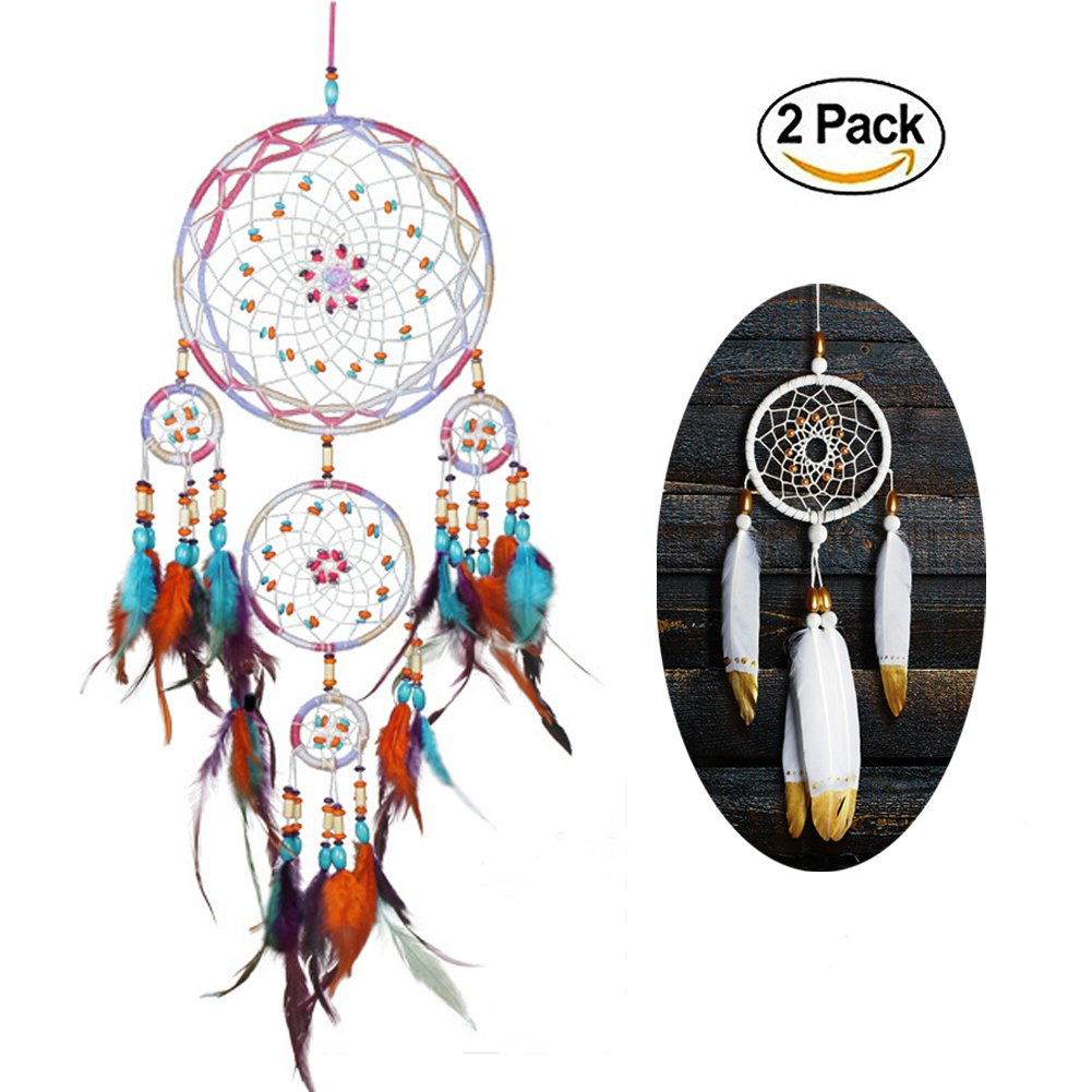 Handmade Dream Catcher,Wall Hanging Home Decor Dream Catcher with Feathers,8.25''Diameter and 31.5''Long(Style 3) by HouseLook