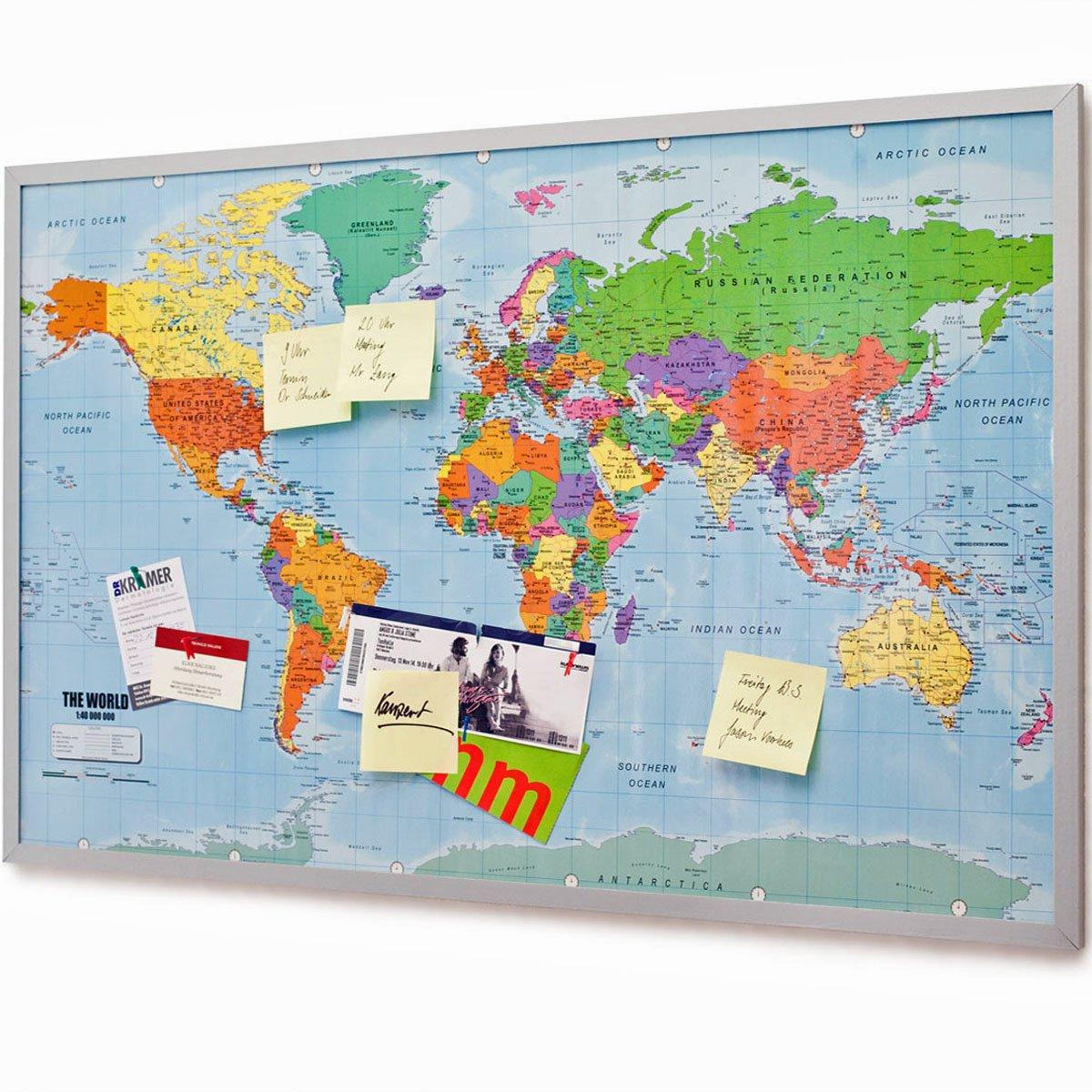 Pinnwand Weltkarte 120x80cm - Memotafel mit Cork & 20 ...