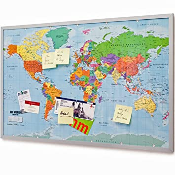 Pin Board Bulletin Board XXL (90x60cm) 2 sided World Map and Cork Memo  Board with 20 marker flags
