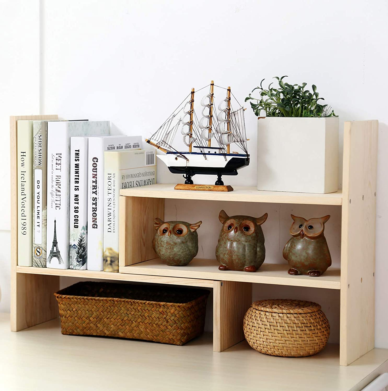 Garwarm Desktop Organizer,Adjustable Natural Wood Office Storage Rack,Display Shelf Rack, Counter Top Bookcase,Burlywood