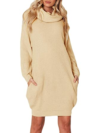 ZKESS Womens Casual Long Sleeve Turtleneck Knit Sweater Chunky Oversized  Pullover Jumper Dress with Pockets Khaki 0dc0076df