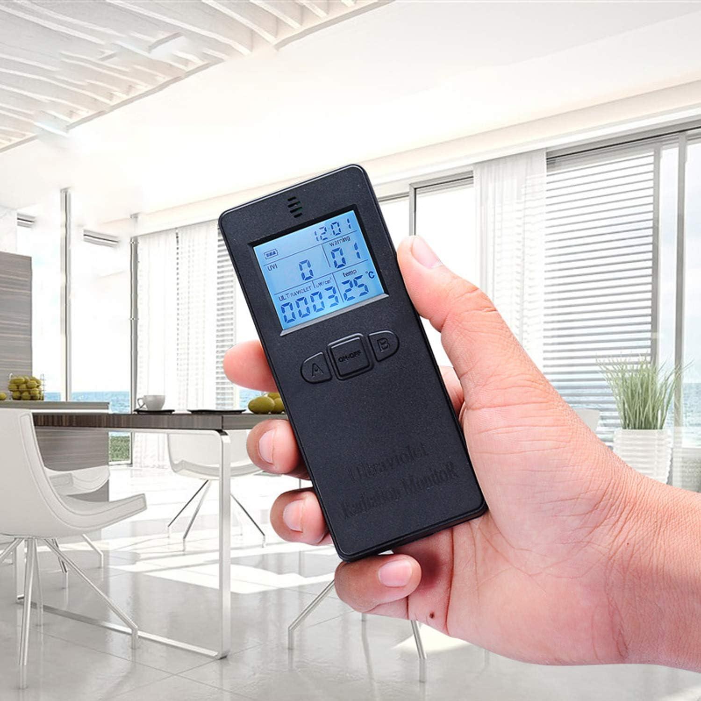 Kecheer Testeur de radiom/ètre d/étecteur de rayons UV num/érique portable UV UVI avec affichage de lheure et de la temp/érature