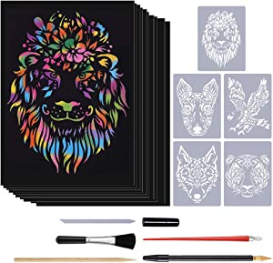 Rainbow Scratch Paper Art Set, Magic Scratch it Off Paper with Animal Template and DIY Kits Great for Party Game Christmas Birthday Kids Gift Home Shop Office Decor (Type B)