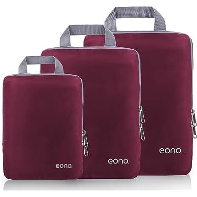 Eono by Amazon - Organizadores de Viaje de compresión expandibles, Impermeable Organizador de Maleta, Cubos de Embalaje, Compression Packing Cubes, Borgoña, 3 Set