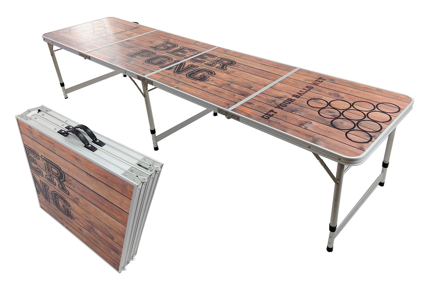 NEW BEER PONG TABLE 8' ALUMINUM PORTABLE ADJUSTABLE FOLDING INDOOR OUTDOOR TAILGATE DRINKING PARTY GAME #8 PONGBUDDY
