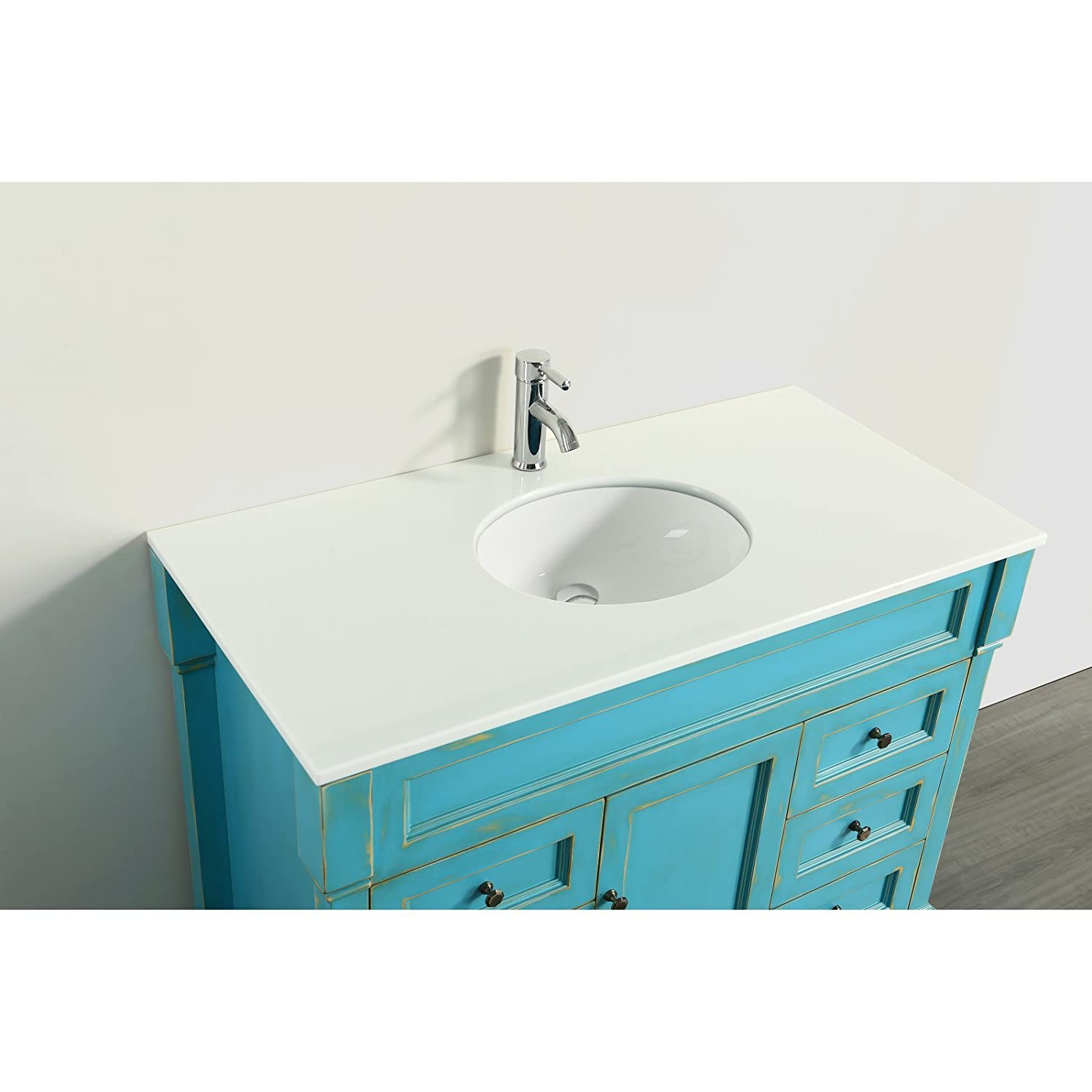 Bosconi SB-278WHPS Bathroom 43 Prime Single Vanity with Oval Undermount Sink, Cabinet, Countertop, 6 Drawers, and a Mirror, White Phoenix Stone, 4 Piece