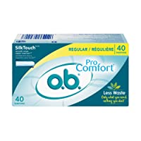 o.b. Pro Comfort Applicator Free Digital Tampons, Regular Absorbancy, 40 Count (Pack of 1)