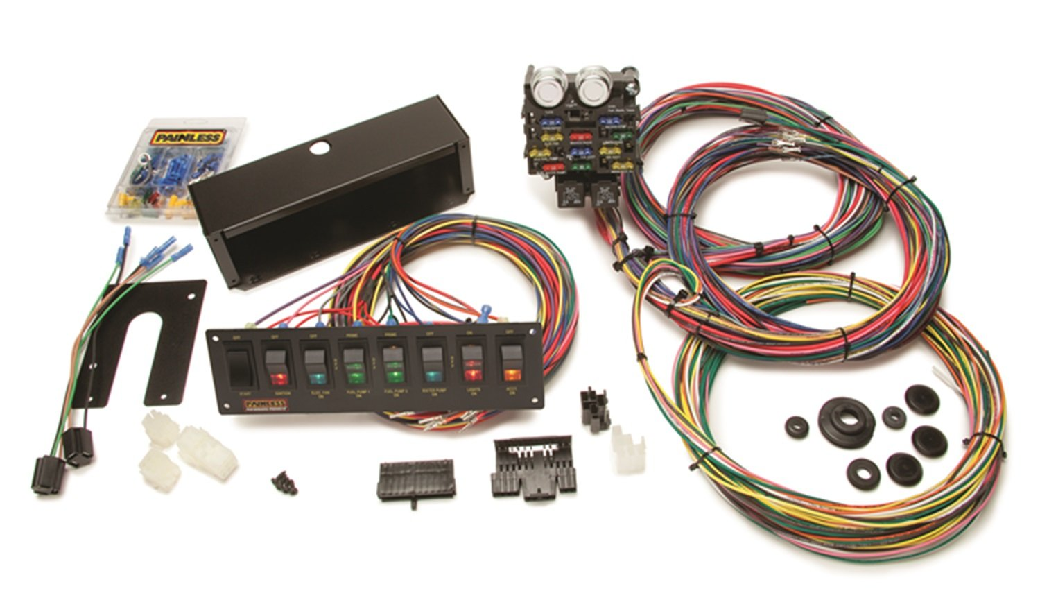 71BqRBAaHEL._SL1500_ amazon com painless 50003 12 circuit wiring harness with 8 switch painless wiring harness rebate at n-0.co