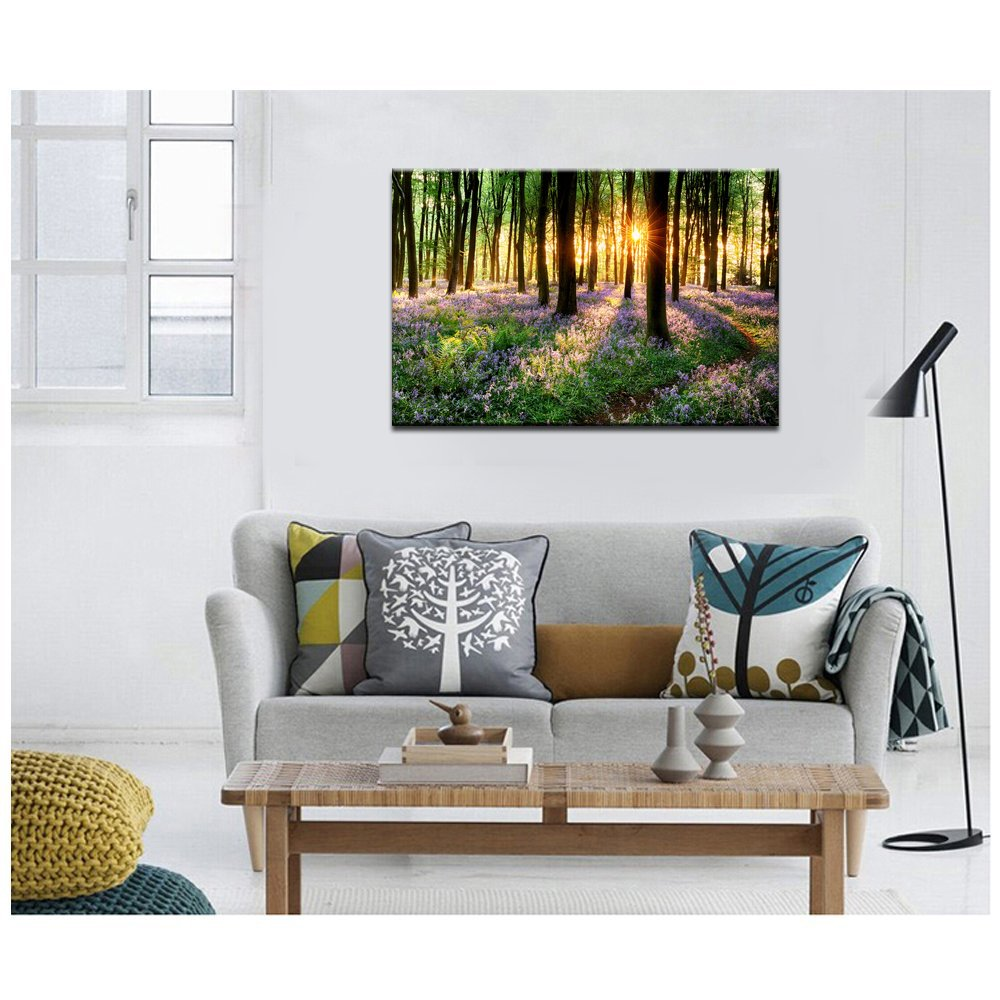 Lavender Canvas Wall Art with Wood Frame Forest in Sunshine Canvas Print Wall Decor Wall Canvas Landscapes Home Decoration Ready to Hang by Sea Charm (Image #5)