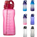 YIREN Half Gallon (64oz) Water Bottle with Carry Handle and Pop Up Straw BPA Free Tritan Plastic Leak Proof Water Jug…