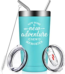 Housewarming Gifts for New Home - House Warming New Apartment presents Ideas for Women, Men, Couple, Best Friends - New Adventures New Home New Memories - Insulated Tumbler Cup with Lid and Straw