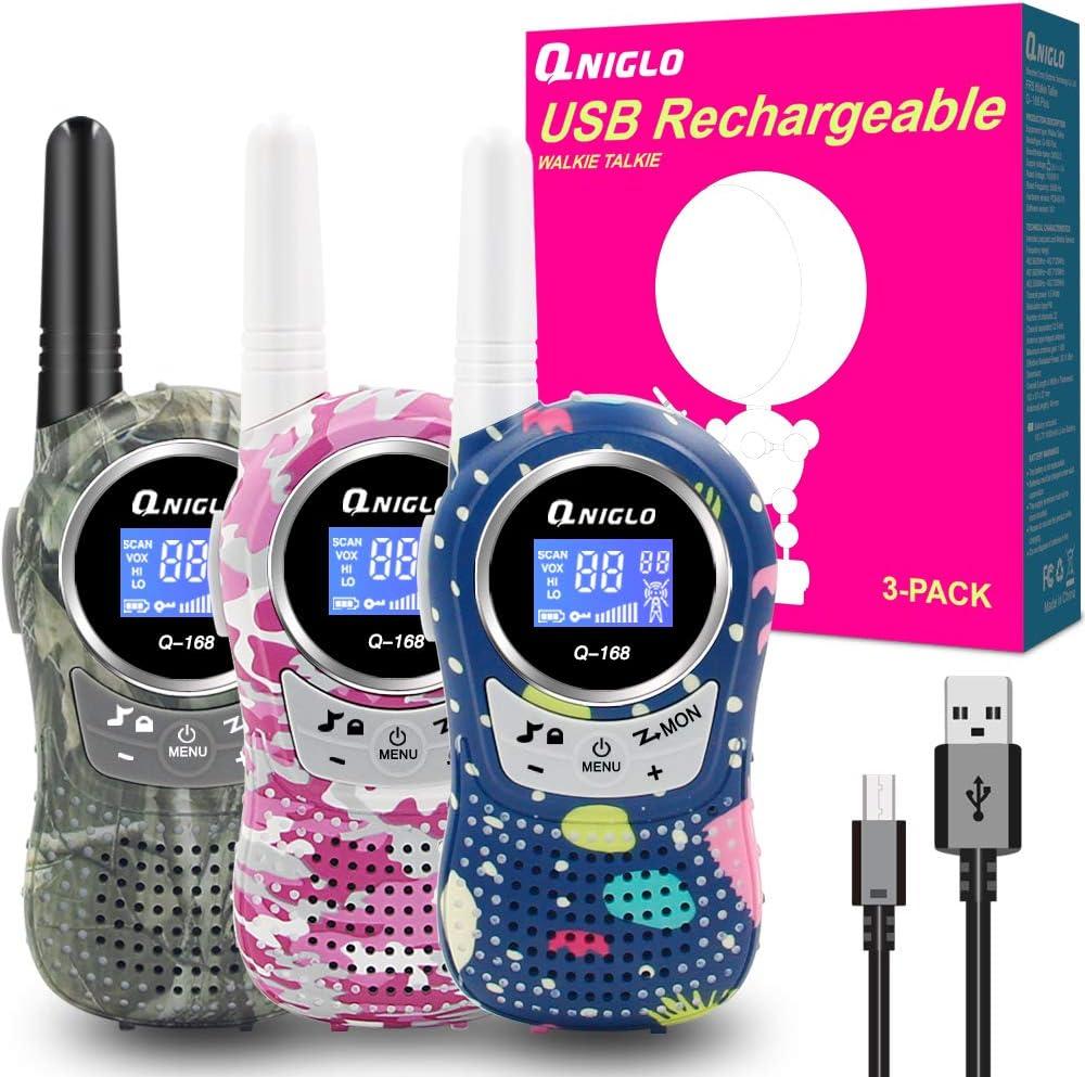 Amazon.es: QNIGLO Q168Plus Walkie Talkie Niños Recargables, 8 Canales Radio Bidireccional 2 Kms de Largo Alcance PMR, Equipo de Espía, Mejores Juguetes Regalos, con Baterías de Litio(Q168Plus_3Pack)