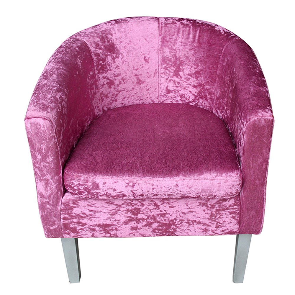 furniture-uk-shop Velvet Fabric Tub Armchair Club Chair Dining Living Room Cafe Padded Seat (WYB-SB)