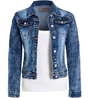Womens Distressed Denim Jacket Comfort Fit Black Jean Jackets Size 6 8 10 12 14