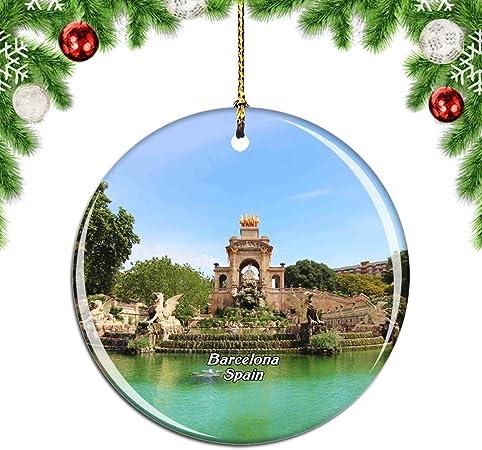 Weekino España Ciutadella Park Barcelona Decoración de Navidad Árbol de Navidad Adorno Colgante Ciudad Viaje Colección de Recuerdos Porcelana 2.85 Pulgadas: Amazon.es: Hogar