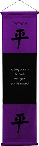 G6 Collection Inspirational Wall Decor Peace Banner Large, Inspiring Quote Wall Hanging Scroll, Affirmation Motivational Uplifting Art Decoration, Thought Saying Tapestry Peace Purple