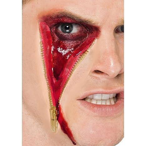 NET TOYS Accessorio per costume Halloween  ferita finta per viso con  cerniera realizzata in lattice eee361d47e04