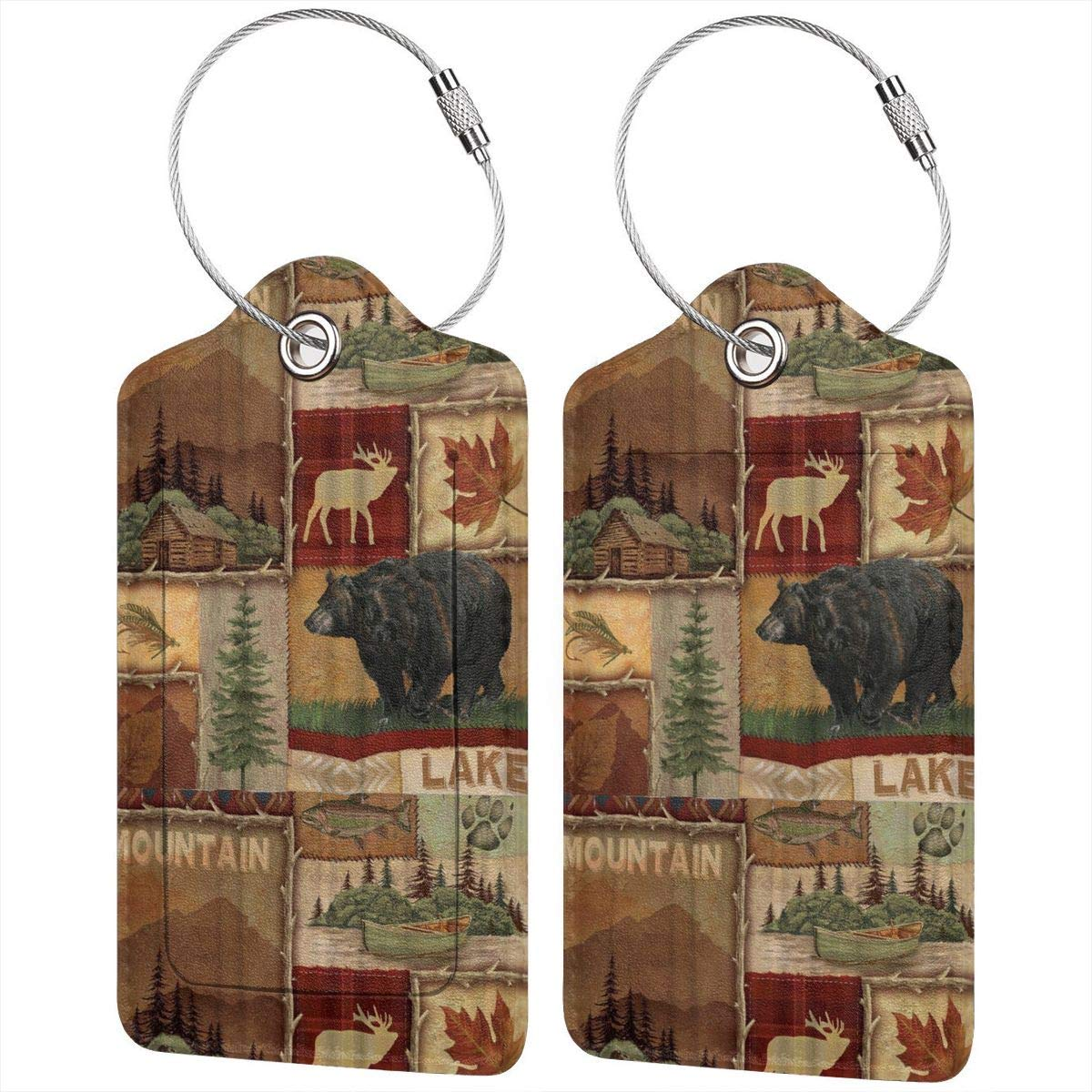 Rustic Lodge Bear Moose Leather Luggage Tags Personalized Suitcase Tag With Adjustable Strap
