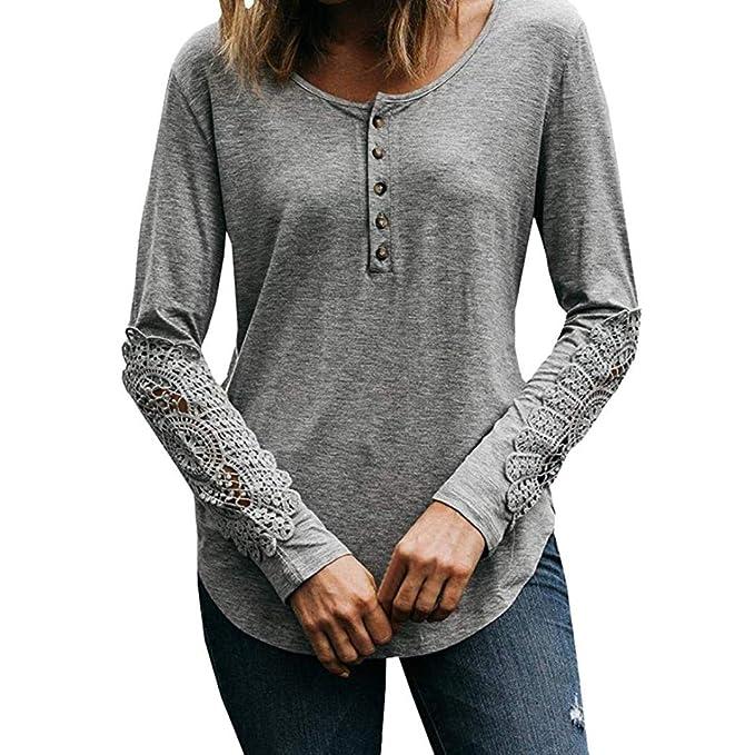 Btruely Herren_camisetas Camisetas de Manga Larga para Mujer Botón del Remiendo del cordón Camisas Flojas Tops