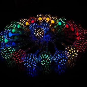 isiyiner cadena de luces led alimentado por batera diseo de bolas doradas huecas decoracin para exteriores