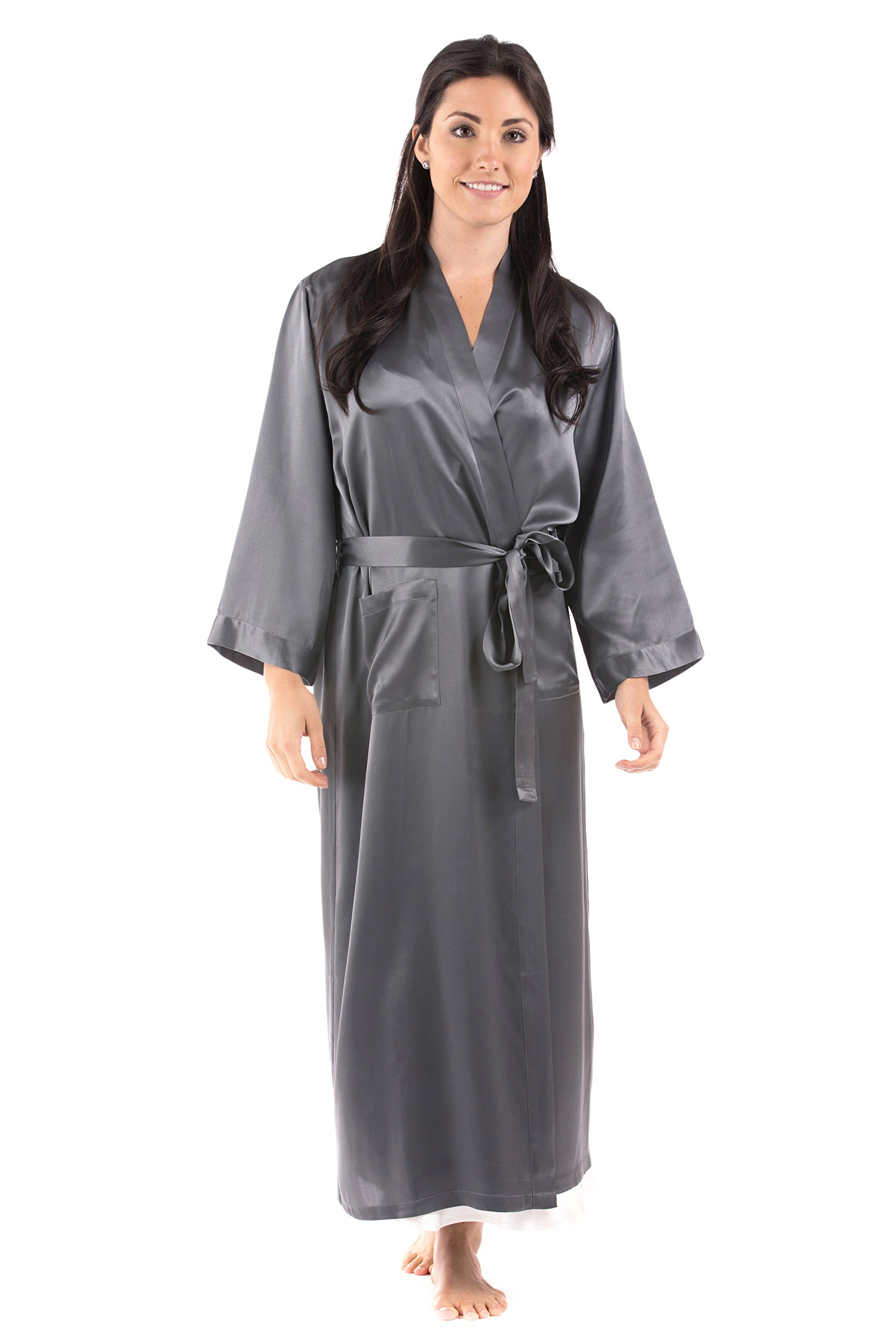 TexereSilk Women's Luxury Long Silk Robe (Pewter, 2X/3X) Great Gifts for Mom Sister Wife WS0101-PWT-2X3X