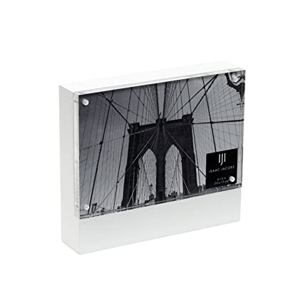 Amazon.com: Isaac Jacobs Wood Block Acrylic Picture Frame, 4x6 White ...