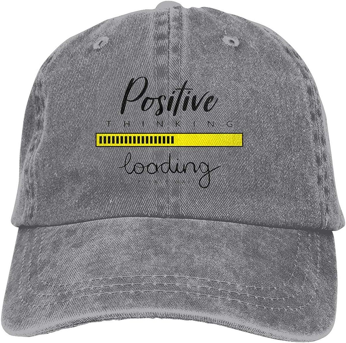 Positive Thinking Loading Vintage Unisex Adjustable Baseball Cap Denim Dad Hat