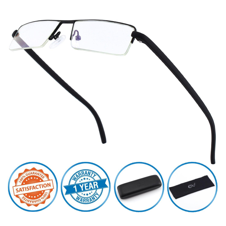 CGID lunettes de lecture Anti lumière bleue, monture demi cerclée en TR90,  pour hommes c244bf5f8891