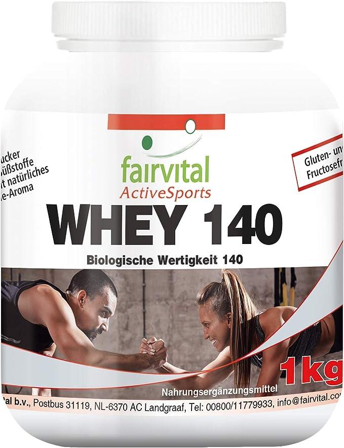 Whey Protein 140 - Proteína de suero de leche - Sin azúcar añadido - 1Kg - Calidad Alemana