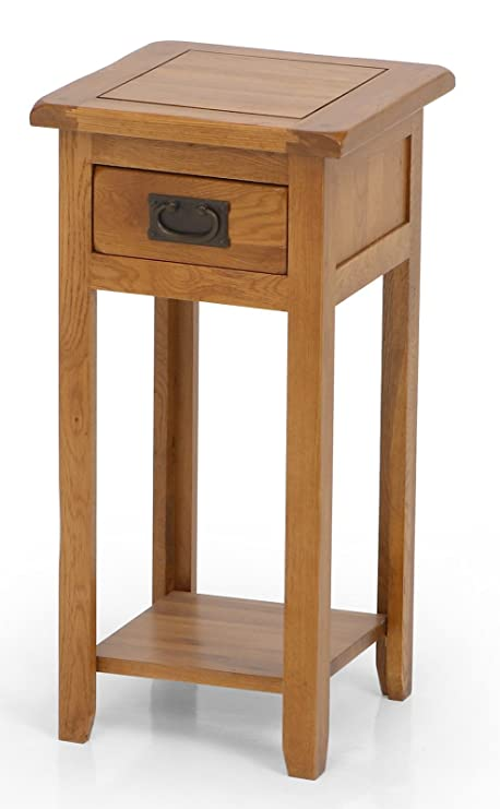 Attirant Lamp Table   UK Gardens Solid Oak Tall Wooden Lamp Stand With Drawer And  Shelf