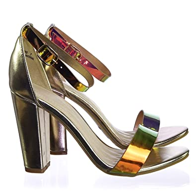 cc00292e3df Holographic Iridescent Block High Heel Dress Sandal w Thick Ankle Strap