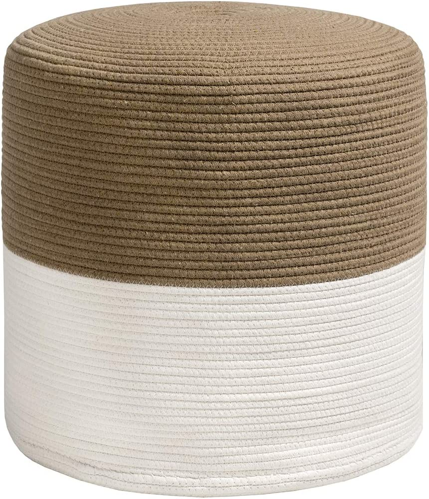 Giantex Pouf Ottoman Round for Sitting Braided Pouf W Natural Jute Cover, Home Decorative Seat for Guests, Ideal for Living Room, Bedroom, Kid s Room Floor Ottoman Footrest White Coffee