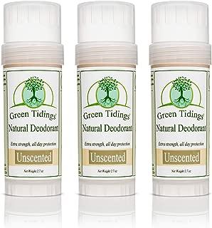 product image for Green Tidings Natural & Unscented Deodorant | Vegan, Organic Deodorant for Men and Women, Fragrance Free & Aluminum Free Deodorant, Underarm Antiperspirant 2.7oz 3 Pack (15% Off)