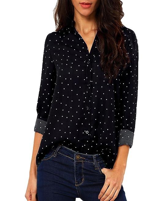 Auxo Mujer Camiseta Manga Larga Verano V-Cuello Botón Lunares Gasa Tops Blusa T Shirt