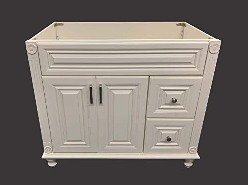 Antique White Solid Wood Single Bathroom Vanity Base Cabinet 36 W x 21 D x 32 H Right Drawers