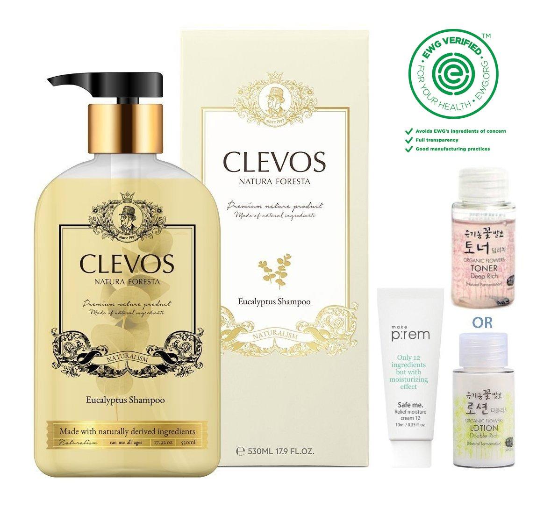 Clevos Natura Foresta Organic Shampoo for Sensitive Dry Scalp, Eucalyptus 530ml, 17.9 fl.oz. with Whamisa Deep Rich Essence Toner and Makep:rem Cream | All Natural | Sulfate-free | EWG VERIFIED | BDIH by Clevos