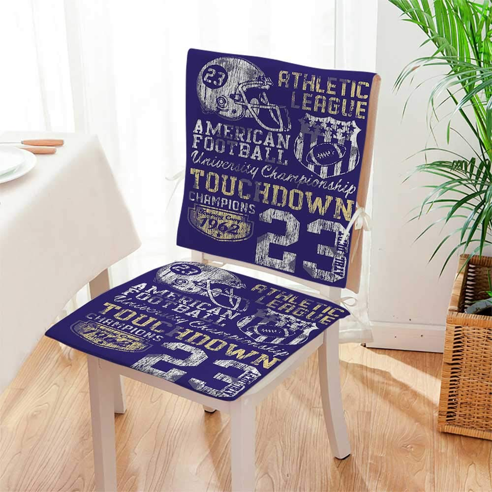 Mikihome Chair Pads 2 Piece Set Retro American Football College Version Illustration Athletic Championship Apparel Blue White Garden Home Kitchen Mat:W17 x H17/Backrest:W17 x H36