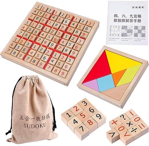 YUELAI Juguete de Juego de Sudoku,Juego de Mesa de Sudoku de Entrenamiento de Inteligencia para Niños Adultos de Madera, Juego de Mesa de Matemáticas, 4+: Amazon.es: Hogar
