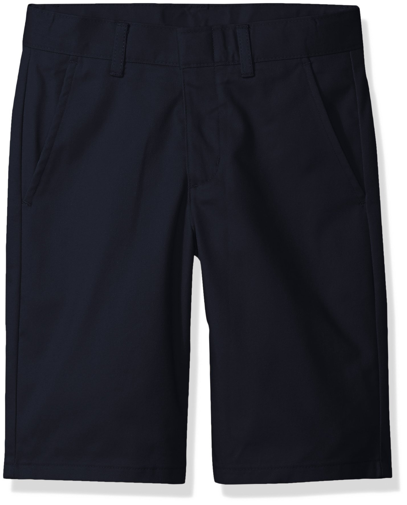 Nautica Husky Boys' Uniform Flat Front Twill Short, Navy, Large/14/Husky