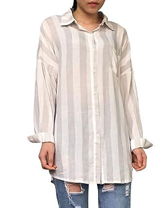 7b0b14801cd Aeneontrue Women s Cotton Loose Casual Striped Blouses Tops Long Sleeve  Button Down Shirts Gray L