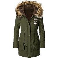 Jeeluory Women Warm Autumn Cotton Fleece Lined Parka Faux Fur Hooded Jacket Coat