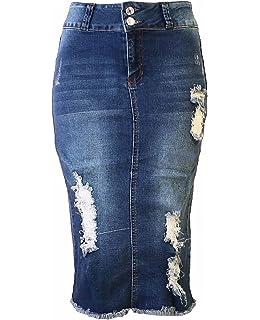 87b66db673 Womens Junior/Plus Size Below Knee Length Midi Pencil Ripped Denim Skirt