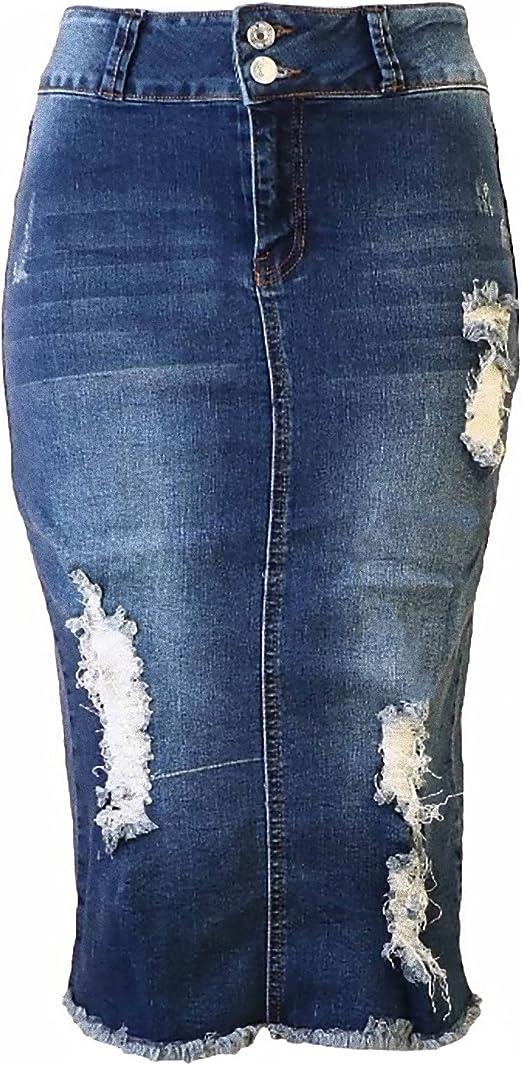 running shoes buy popular cheapest Womens Junior/Plus Size Below Knee Length Midi Pencil Ripped Denim Skirt