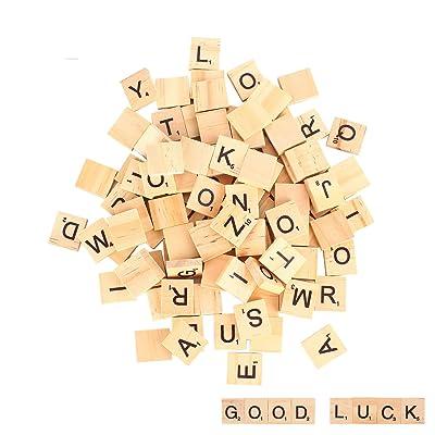 100 piezas Letras de madera, alfabeto madera A a Z para Manualidades DIY Decoración, educación infantil: Juguetes y juegos