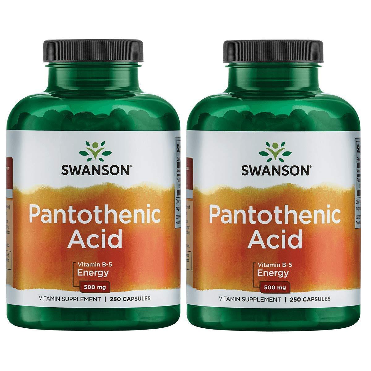 Swanson Pantothenic Acid (Vitamin B-5) Energy Metabolism Nerve Function Support 500 mg 250 Capsules (Caps) (2 Pack)