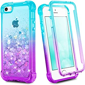 Ruky iPhone SE Case (2016), iPhone 5 5S Glitter Full Body Case with Built in Screen Protector Shockproof Protective Bling Liquid Girls Case Compatible for iPhone 5 5S SE (Teal Purple)