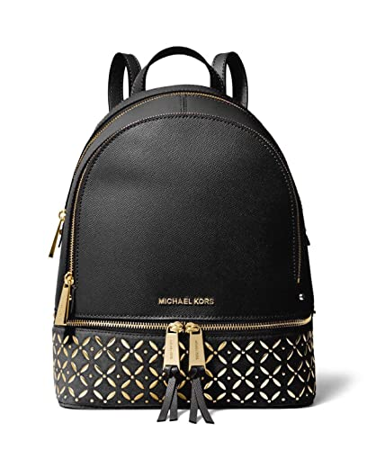0d56240b999a Amazon.com  MICHAEL Michael Kors Rhea Medium Embellished Leather Backpack  in Black  Shoes