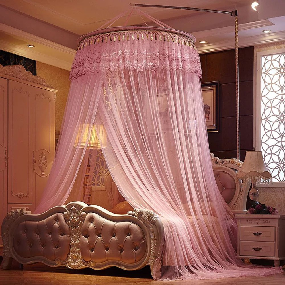 USXTian Round Princess Mosquito Net Bed Canopy Fly Screen Bug Insect Protection Netting for Bedroom Dorm