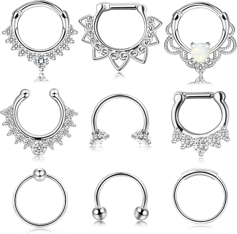 Udalyn 9 Pcs Stainless Steel Septum Hoop Nose Rings Cartilage Rings Clicker CZ Body Piercing Jewelry
